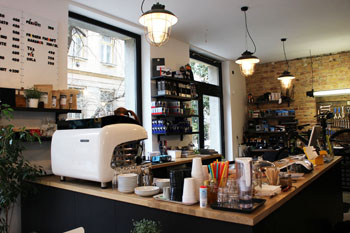 the coffee shop area of Mester Bike and Cafe