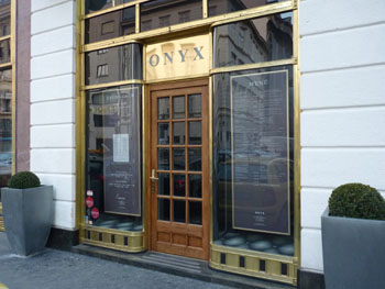 the entrance of Onyx with the name above the door