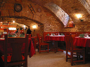 Regős Vendéglő's cellar like dining area