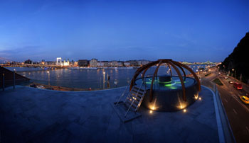 view of the Pest side from the jacuzzi on topof the Rudas bath at the blue hour