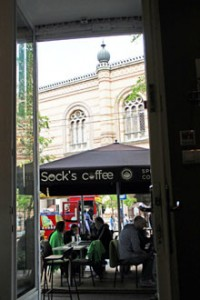 the tower of the Great synagogue from Socks coffee