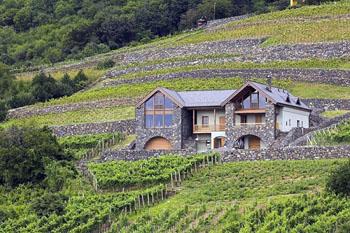 a grey stone, modern wine cellar, Kreinbacher Birtok