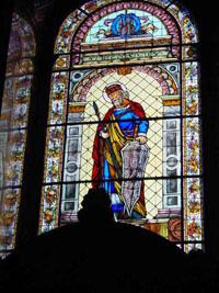 Beautiful stained glass window inside St. Stephen's Basilica