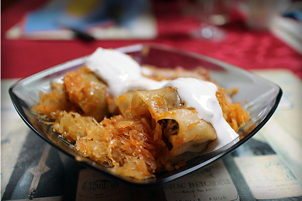 Stuffed Cabbage served with sour cream