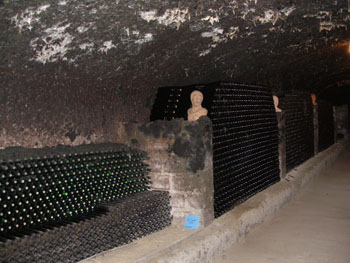 rows of bottled wine in the Thummerer cellar