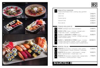 menu of Tokio restaurant