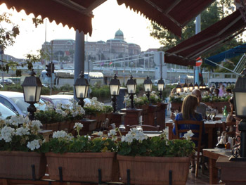 diners on the terrace of Trattoria Toscana