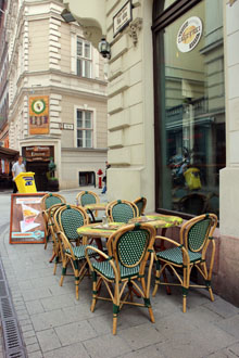the terrace of Cafe Frei in Vaci street
