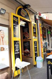 Belgian Waffel Bar's entrance on Vaci utca