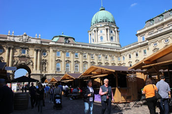wooden pavilions of exhibitors on the wine festival in Sept