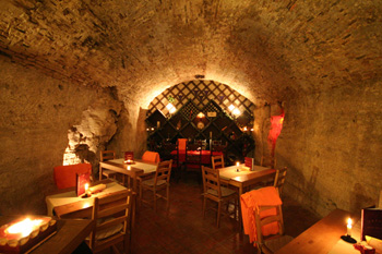 the vaulted interior of the Faust wine cellar