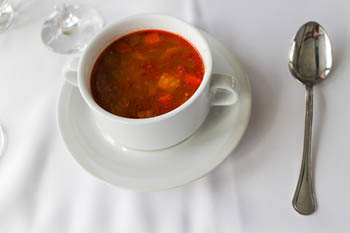goulash soup in a small round bowl