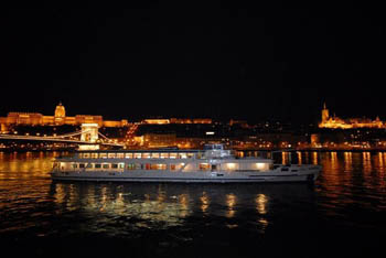 an excurison boat on the Danube at night