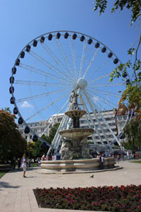 the Eye on Erzsebet Square on a clear day