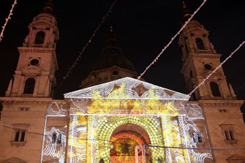light show on the front facade of the Basilica