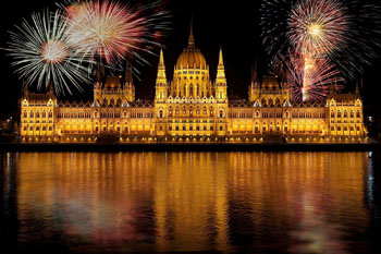 fireworks on the Danube in front of the Parliament