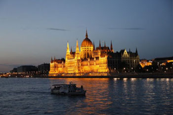 a tour boat on the Danube in Budapest