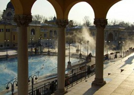 outdoor pools of the Szechenyi Thermal Bath in winter