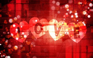 red hearts window decor for Valentine's Day