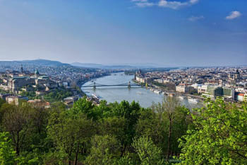 birds eye view of the Danube, Buda and Pest on a summer day