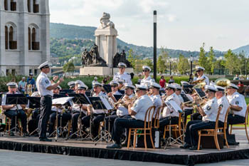 a police band performing on Kossuth square