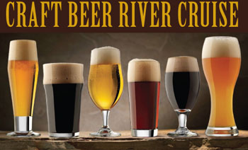 5 types of beers in various lasses