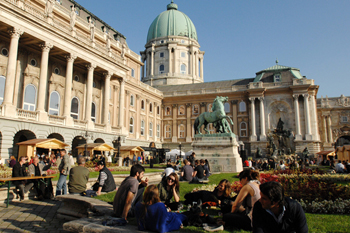 people enjoing the Easter festivities on the lawns of Buda Castle