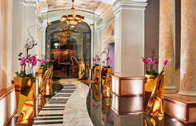 piano keyboard in the lobby of Aria Hotel Budapest