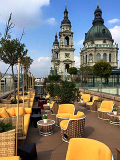 spires of St. Stephen Basilica from the rootop bar