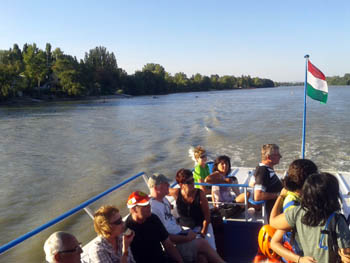 tourists an a boat ride on the Danube