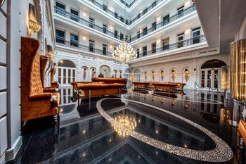 the inner courtyard of Prestige Hotel Budapest