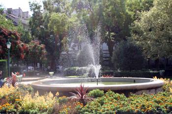 the fountain in Karolyi Garden in summer