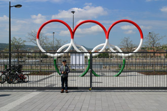 The five Olympic rings monument in Olimpia park