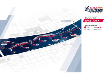 Red Bull air race sitemap on the Pest and Buda banks of the Danube