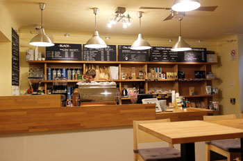 the counter with the La Marzoco machine in Madal cafe