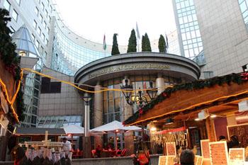 Christmas market in front of Kempinski hotel