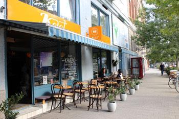 the trrace of Kelet cafe on Bartok Bela Blvd.