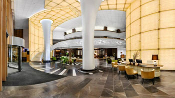 the sweeping lobby of Kempinski