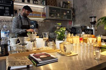 Gabor the barista, in Warm Cup coffee shop