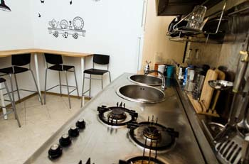 the cooker and the stainless steel sink in the kitchen