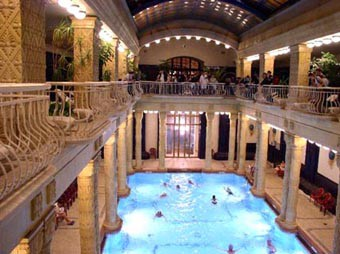 indoor pools with marble columns on two sides