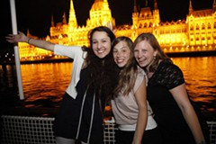 girls partying on a boat on the Danube