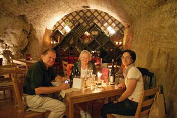 tasting wines with friends in Buda castle