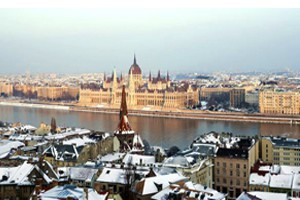 Budapest in Winter-snow covered roof tops