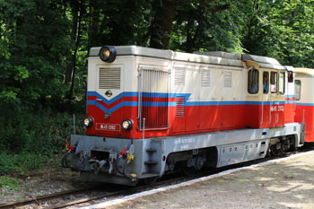 the red and white engine of the Children's railway in the Buda Hills