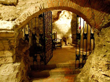 the vaulted entrance tot he stone cellar with black wrought iron gates
