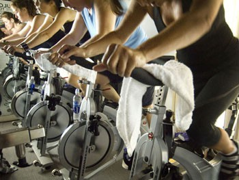 spinning class in a fitness club
