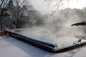 steam over the outdoor hot pool