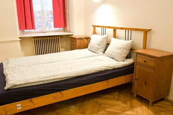 a bedroom with double bed