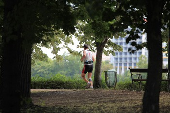 a jogger on Margaret Island